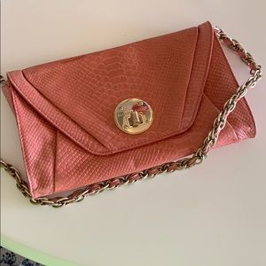 Elliott Lucca genuine leather clutch with chain